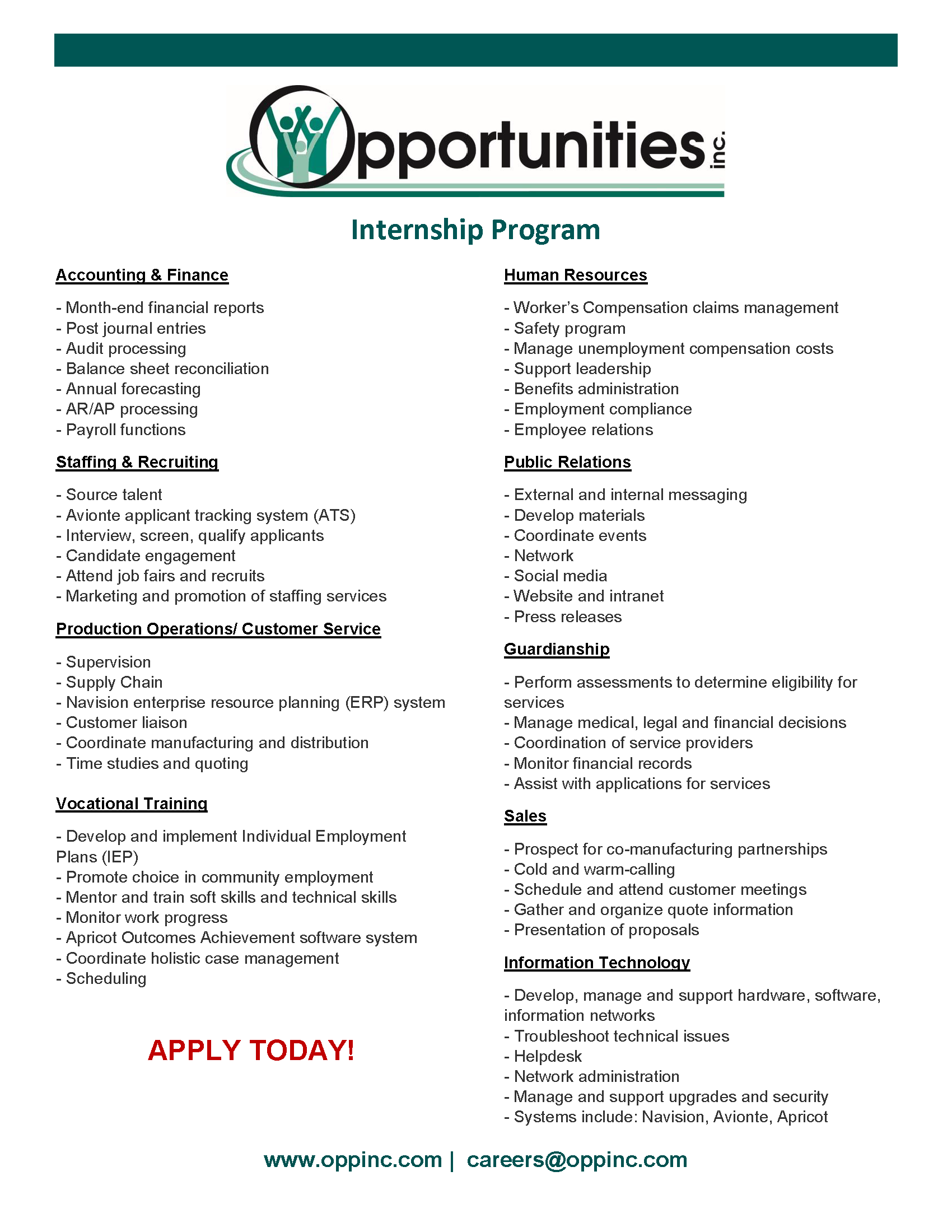 Opportunities, Inc WI – Manufacturing Services, Training and